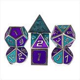 7Pcs Dices Polietricos de Metal Conjunto de Papel D & D Dungeons and Dragons Dice Party Jogos de Mesa com Transporte Bolsa