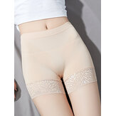 Lace-trim Mid Waist Butt Lifter Comfy Shorts Panties