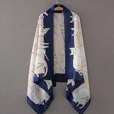 Cute Gato Pttern Casual Print Silk Scarf Playa Bufanda Chal