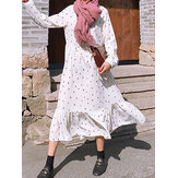 S-5XL Casual Women Polka Dot Print Long Maxi Shirt Dress