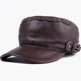 Men's Hat Leather Flat Top Military Cap