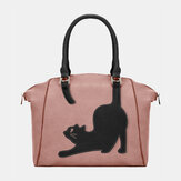 Women Faux Leather Fashion Large Capacity Cat Bag Handbag