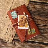 Sketchbook Stationery Agenda Vintage Diary A6 Notebook Writing Pockets Book Leaf Leather Cover Loose Blank Travel Journal Gift