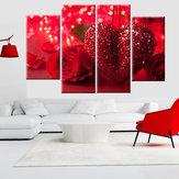 4 piezas rojo Corazón amor lienzo impresión arte pintura pared imagen decoraciones para el hogar