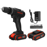 48V 3/8'' Cordless Rechargeable Electric Impact Hammer Driver Drill +2 Battery