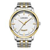 LONGBO 80232 Fahsion Business Style Pełny stalowy pasek Prosty męski kwarcowy zegarek