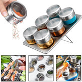 6Pcs Magnetic Spice Jar Tin Storage Stainless Steel Rack Kitchen Holder Stand