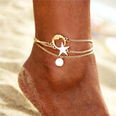 Moon Star Pendant Multi-layer Anklet
