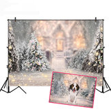 5x3FT 7x5FT 8x6FT Christmas Tree Snow Photography Backdrop Background Studio Prop