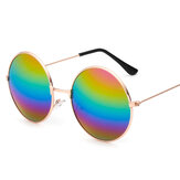 Retro Round Aviator Pilot Glasses Sunglasses Reflective Color Film