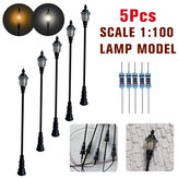 5Pcs/Set 1:100 HO Scale LED Model Post Street Garden Light Railway Train Lamps