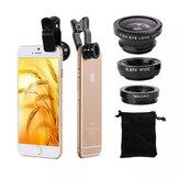 3 in 1ユニバーサルクリップカメラレンズ0.67広角+180度フィッシュアイ+マクロレンズ、携帯電話、タブレット用