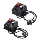 EU / UK Plug AC 220 V 4000W SCR Regulator Tegangan Elektronik Suhu Motor FAN Speed Controller Dimmer Alat Listrik Dapat Disesuaikan