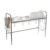 Stainless Steel 2-Tier Dish Drying Rack Cup Drainer Strainer Holder Tray Kitchen Storage Rack