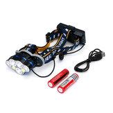 XANES 2606-7 1900LM 3 * T6 + 2 * XPE + 2 * COB 8 Modes Fietskoplamp met 2 * 18650 Batterij USB-interfaceversterker