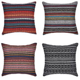 Bohemian Striped Linen Pillow Case Square Home Decorative Sofa Cushion Cover Pillow Cover
