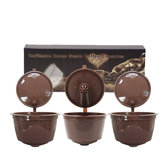3Pcs/set Refillable Coffee Capsule Cup Reusable Coffee Pods w/ Coffee Spoon Brush for Nescafe Dolce Gusto Brewer