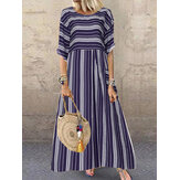 Women Short Sleeve O-neck Striped Casual Maxi Dress