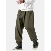 Mens Fashion Drawstring Pure Color Elastic Waist Casual Pant