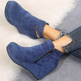 Women Plus Size Slip Resistant Wedge Heel Ankle Short Boots