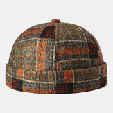 Krempenlose Schädelkappe Multicolor Plaid Stitching Pattern Caps