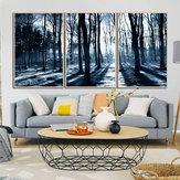 Miico Handgemalte Drei Kombination Dekorative Gemälde Hölzer Unter Dem Mondschein Wandkunst Für Hauptdekoration
