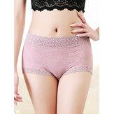Plus Size Lace Floral Jacquard-Slip aus Baumwolle mit hoher Taille