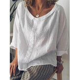 Women Casual Cotton Pure Color Long Sleeve Blouse