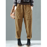 Corduroy Elastic Waist Solid Color Side Pocket Harem Pants