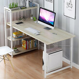 Computer Laptop Desk with Shelves Modern Style Computer Table Variety of Display Office Table with 4 Tiers Bookshelf Study Writing for Home Office