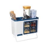 Kitchen Storage Rack Wall-mounted Cutlery Holder Towel Hanger Seasoning Storage Drawer Organizer