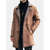 Mens Mid Long Faux Chamois Leather Trench Coat Suede Jacket