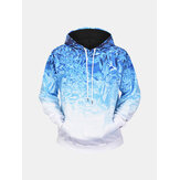 Men's Ice Crystals 3D Printing Long Sleeve Casual Fashion Drawstring Hooded Sweatshirt