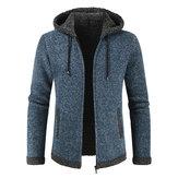 Mens Fashion Hooded Knitting Thickened Drawstring Jacket