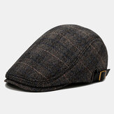 Men's Beret Caps British Plaid Cap Men Outdoor Casual Warm Cap Felt Adjustable Leisure Hat