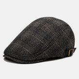 Erkek Bere Kapaklar İngiliz Ekose Kap Erkekler Outdoor Rahat Sıcak Kap Ayarlanabilir Eğlence Şapka Hissettim