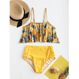 Plus Size High Waist Flora Printed Backless Swimwear
