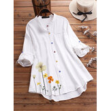 Flower Print Long Sleeve Colorful Button Shirts