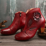 SOCOFY Women Retro Flower Genuine Leather Ankle Short Boots