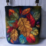 Dames Colorful Leaf DIY lamshaar Crossbody schoudertas