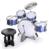 Kinderen Jazz Drumset Kit Muzikaal educatief instrument 5 Drums 1 Cimbaal met ontlasting Drum Sticks percussie-instrument