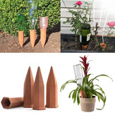 4Pcs/Set Modern Terracotta Clay Plant Watering Stakes Automatic Watering Spikes Long Neck Bottle Watering Device Drip Irrigation for Home Vacation