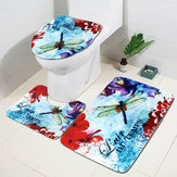 3pcs/Set Red Purple Flowers Dragonfly Non-Slip Bathroom Pedestal Rug Toilet Lid Cover Bath Mat Floor Carpet Doormat