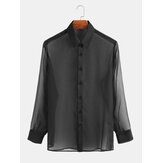 Herenmode single-breasted pure kleur shirt met lange mouwen