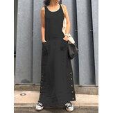 Femmes sans manches en vrac Vintage long boutons latéraux robe solide