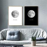 Abstracte zwart-witte maan Canvas schilderijen Print Home Room Wall Picture Art Decor