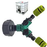 3/4 '' IBC Tank Barrels Joint Tap Adapter 2 Way Y Shape Garden Mangueira Bocal Conector Plástico de água Mangueira Adaptador de tubo Válvula de substituição Peças de montagem
