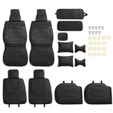 Luxury Universal Black Car 5 Seat PU Leather Front + Rear Seat Cover Cushion