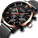 CURREN 8340 Chronograph Calendar Mesh Steel Men Jam Tangan