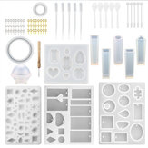 76PCS DIY Resin Casting Molds Silicone Craft Jewelry Pendant Making Mould Tools Kit